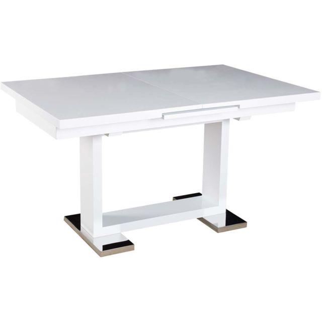 HABITAT ET JARDIN Table repas Toda - 140/180 x 90 x 77 cm - Blanc