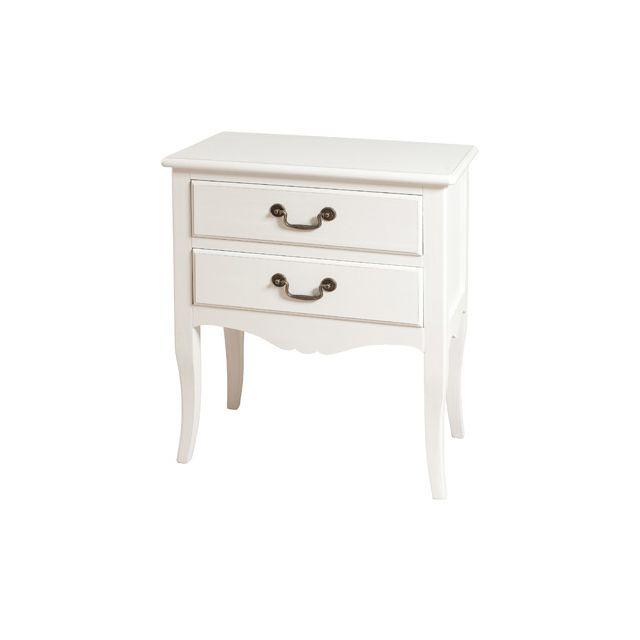 Commode 2 tiroirs 61x35x72cm coloris blanc