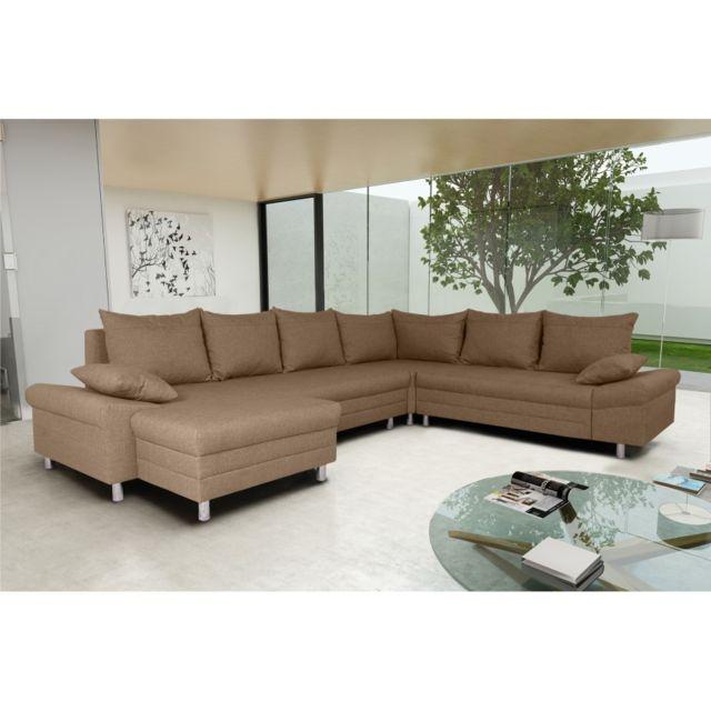 Rocambolesk Canapé Bacau L2FA2 Pano sawana 25 brun angle gauche sofa divan