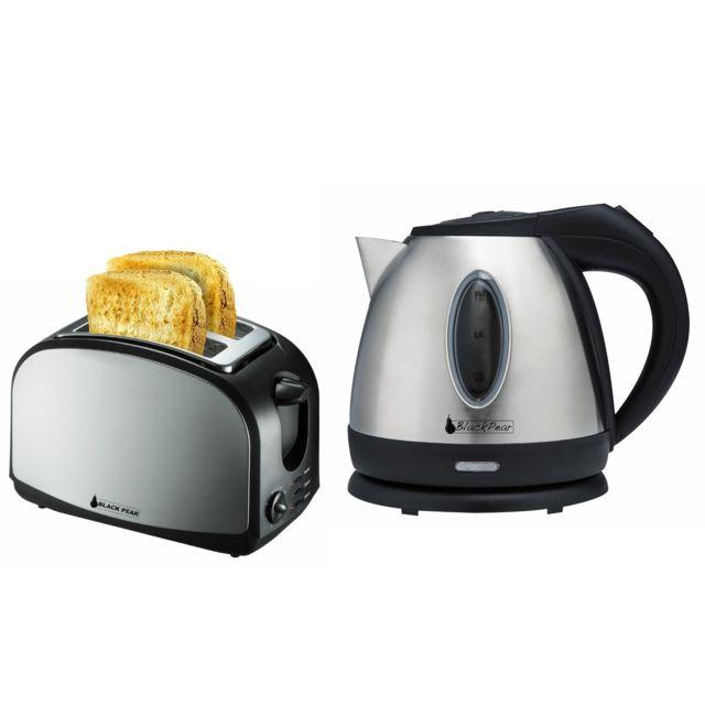 Blackpear Bouilloire inox 1630W 1.2L Black Pear Bsf1216 + Grille pain 2 fentes Black Pear Bgp400