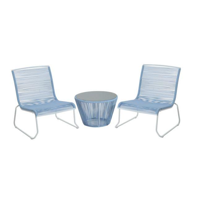 Outsunny ensemble salon de jardin design contemporain 2 places 2 fauteuils et table basse - Salon de jardin pvc blanc ...