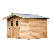 Habrita - Abri en bois 19 mm - Traité très haute température - Toit double pente - 7,03 m²