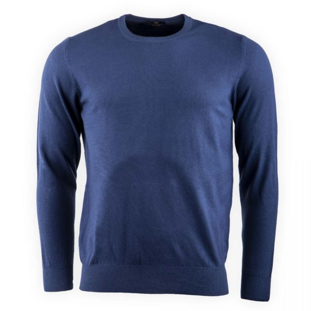 Real Cashmere - Pull laine cachemire col rond coudières homme Bleu - pas  cher Achat   Vente Pull homme - RueDuCommerce 9bde2a344445