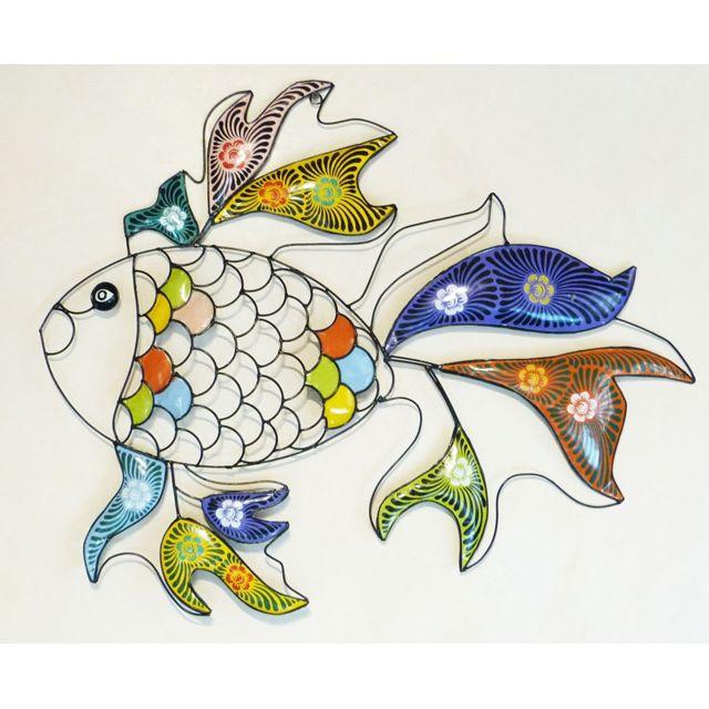 Les Animaux De La Fee Poisson déco couleur mural 79 cm