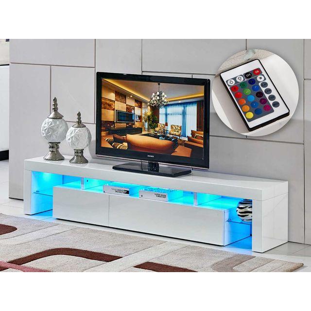 Habitat Et Jardin Meuble Tv Led Tina 188 X 34 X 38 Cm Blanc