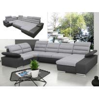 Canapé d angle panoramique convertible en tissu et simili BOILEAU - Bicolore  gris anthracite. MARQUE GENERIQUE ... 29ba3d7525a5