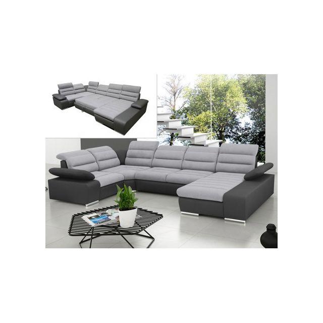 MARQUE GENERIQUE Canapé d'angle panoramique convertible en tissu et simili BOILEAU - Bicolore gris/anthracite - Angle droit
