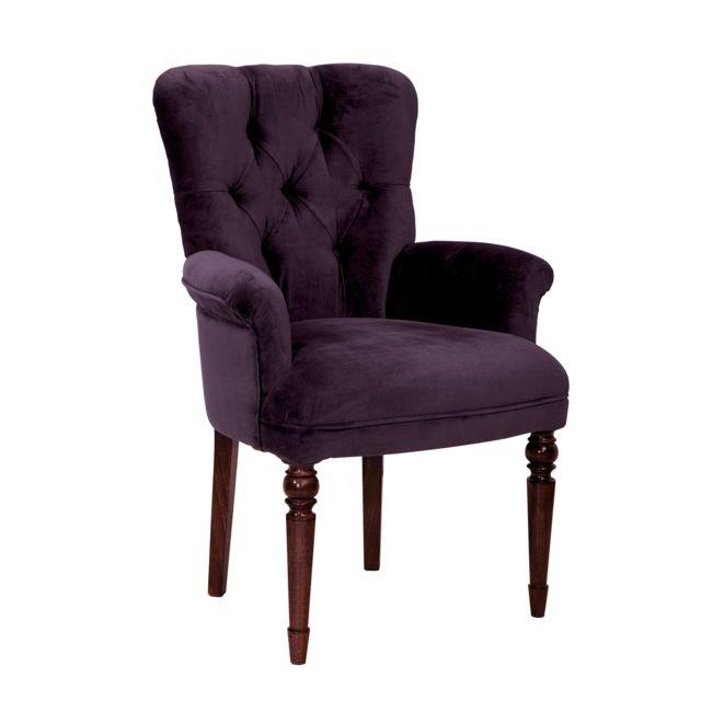 Comptoir de famille fauteuil haut en coton velours avec - Soldes comptoir de famille ...