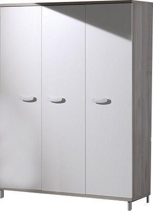 Comforium Armoire 150x202x53 cm à 3 portes coloris greige-blanc