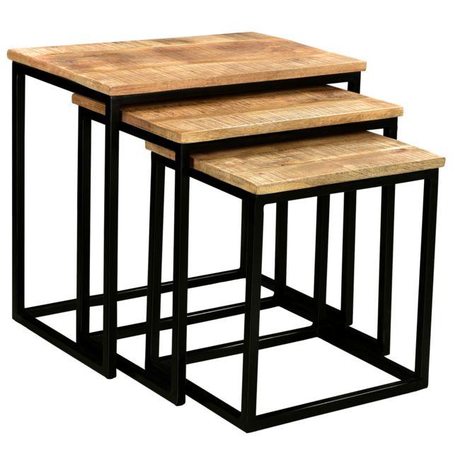 Rendez Vous Deco Table Basse Gigogne Avadi Lot De 3 Pas Cher