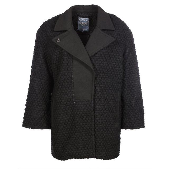 Kaporal 5 - Kaporal - Femme - Manteau en laine col perfecto noir Cecil  hiver 2017 af767a118bec