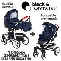 Poussette Combinée Duo 2 en 1 2017 - Landau / nacelle + poussette promenade / hamac - Nombreux coloris - Livrée avec ses accessoires
