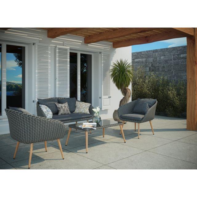 CONCEPT USINE - Cosenza gris : salon de jardin rotin 4 ...