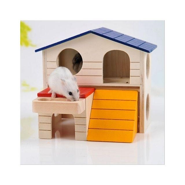 Wewoo Animal Cage Chambre Double Couche En Bois Petit Hamster Squirrel Maison Nest