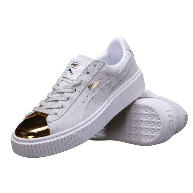 meilleur pas cher 1ddff 79b90 Puma - Chaussure Suede Platform Gold 362222 - 01 Blanc/Or ...