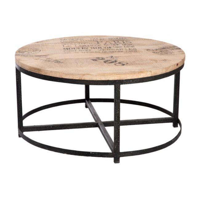 Hellin table basse ronde bois metal bois clair 90cm x - Table ronde bois clair ...