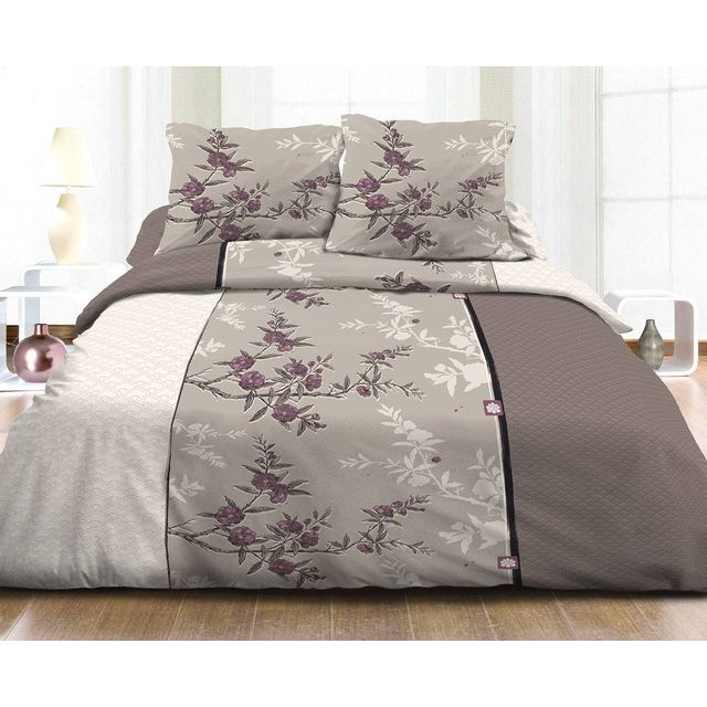 le linge de jules housse de couette 220x240 2 taies pur coton 57 fils zen sakura taupe beige. Black Bedroom Furniture Sets. Home Design Ideas