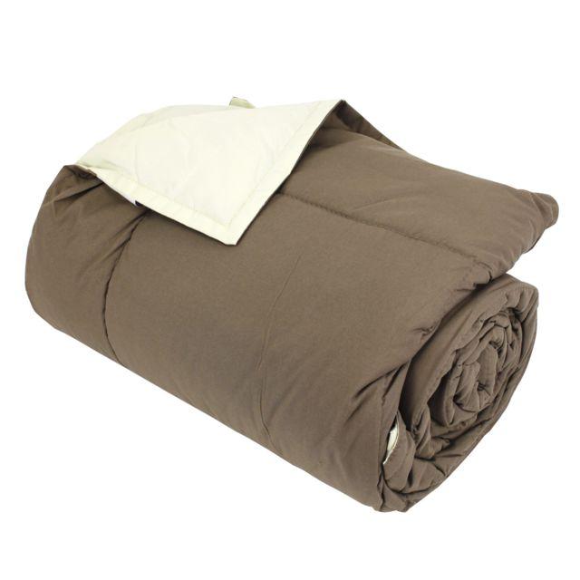 linnea dessus de lit 160x240 cm microfibre 100 polyester 330 g m2 frisbee bicolore marron. Black Bedroom Furniture Sets. Home Design Ideas