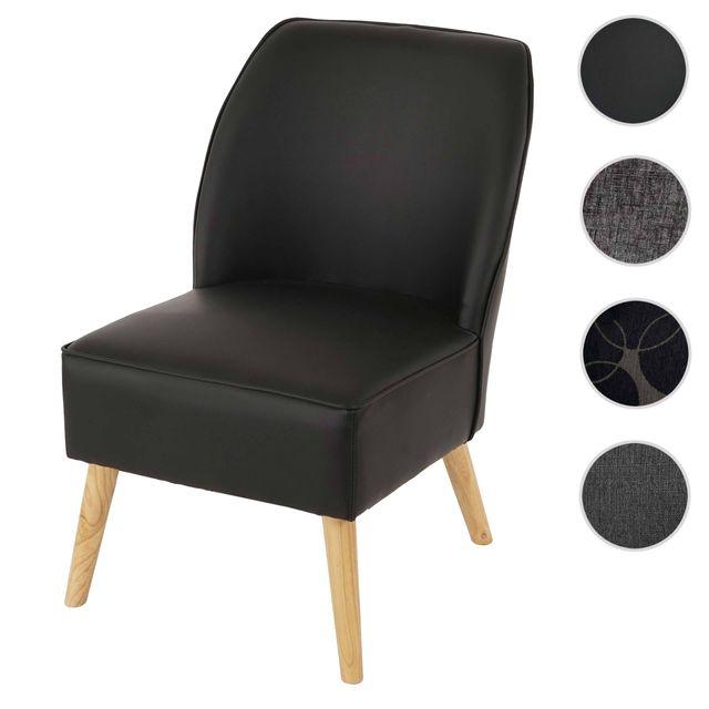 Mendler Fauteuil Malmö T312, fauteuil rembourré de salon / style rétro des années 50 cuir ~ noir