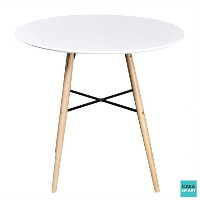 Casasmart Table ronde moderne avec pieds en bois - blanc