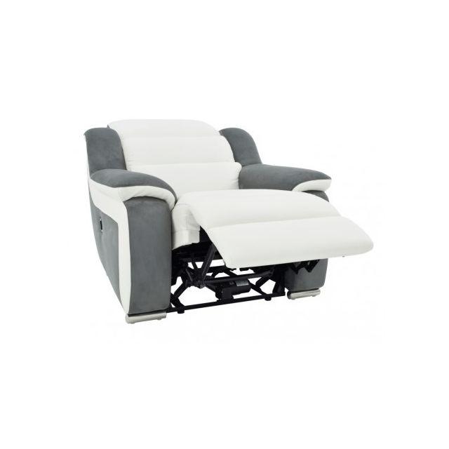 la meilleure attitude 5e027 6a5fb Fauteuil relax électrique en cuir et microfibre ARENA II -Blanc/gris