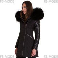 3f1f3e17240 Ventiuno - Sylvia doudoune femme bi-matière cuir d agneau noir et fourrure  véritable
