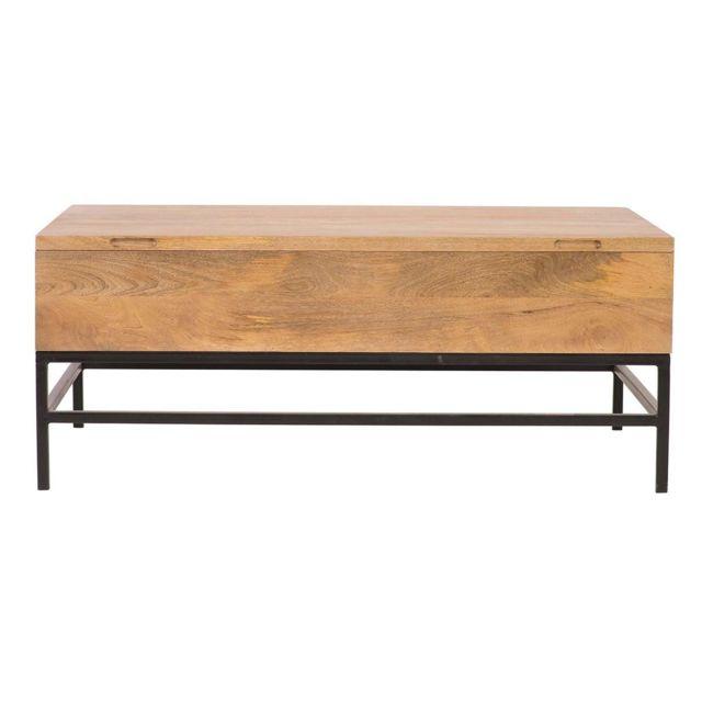 Relevable Basse Table Manguier Et Métal 110cm Ypster Industrielle BoerWEdCxQ