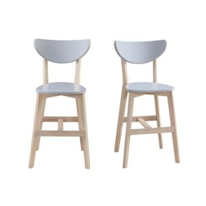 miliboo tabouret de bar scandinave gris et bois 65cm lot de 2 leena pas cher achat vente. Black Bedroom Furniture Sets. Home Design Ideas