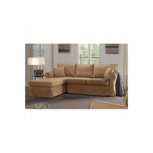 canap d 39 angle fixe gauche camel jaipur sebpeche31. Black Bedroom Furniture Sets. Home Design Ideas