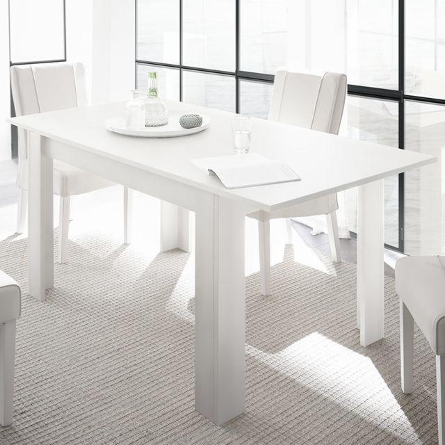 Kasalinea Table extensible 140 cm design blanc laqué Agathe