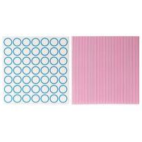 Pt - Dessous de plat en céramique bleu et rose 20x20 - Lot de 2 ass Dots & Stripes