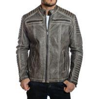 Redbridge - Veste blouson homme style biker gris vintage