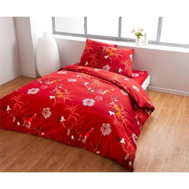 finlandek chambre finlandek drap housse lotus 100 coton 160x200 cm rouge et vert pas cher. Black Bedroom Furniture Sets. Home Design Ideas