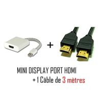 Cabling - Pack Mini DisplayPort vers Hdmi - Cordon adaptateur vidéo pour Apple iMac-Unibody MacBook - Pro - Air et Pc avec Mini Dp etc + Cable Hdmi M/M 3 mètres