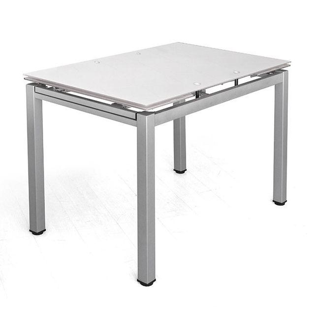 29593491df92af Tuoni - Table extensible en verre trempé Pure Design Queen - Gris ...