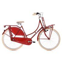 "KS CYCLING - Vélo hollandais dame 28"" Tussaud 3 Vitesses Porte Bagage rouge TC 53 cm"