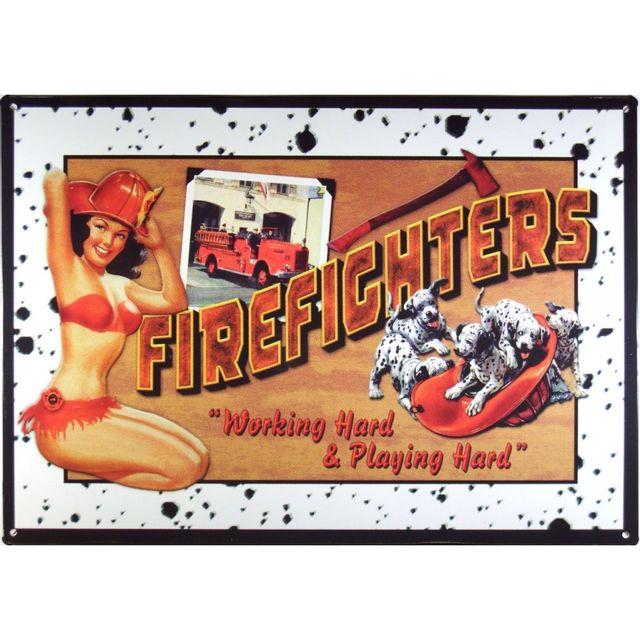 Universel Plaque pompier pin up et chien dalmatien firefighters usa