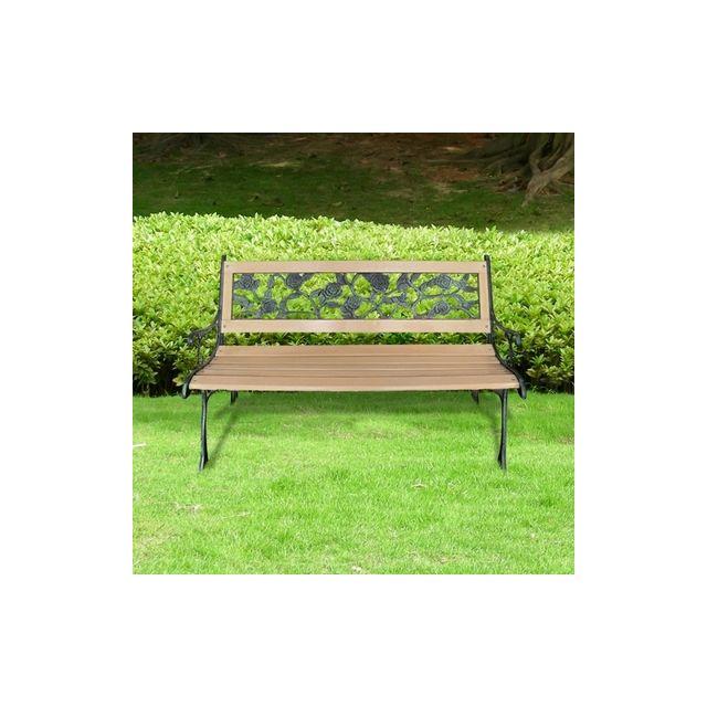 Destockoutils Banc De Jardin Bois Et Fonte Floral Pas Cher Achat