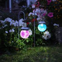 Smart Garden - Lot de 4 lanternes solaires Led lumière blanche et multicolore à planter hauteur 83cm