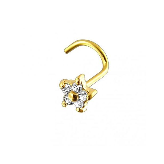 Sans Marque Bijou Piercing Vis pour le Nez En Or 14 carats Fleur avec 1 Pierre Précieuse Zircon de Haute Qualité Cz