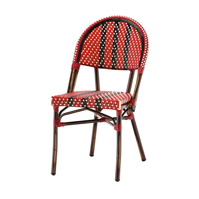 Rotin-design Soldes: -40% Chaise bistrot rouge Nico alu et polyrotin rouge- Rotin Design Garden