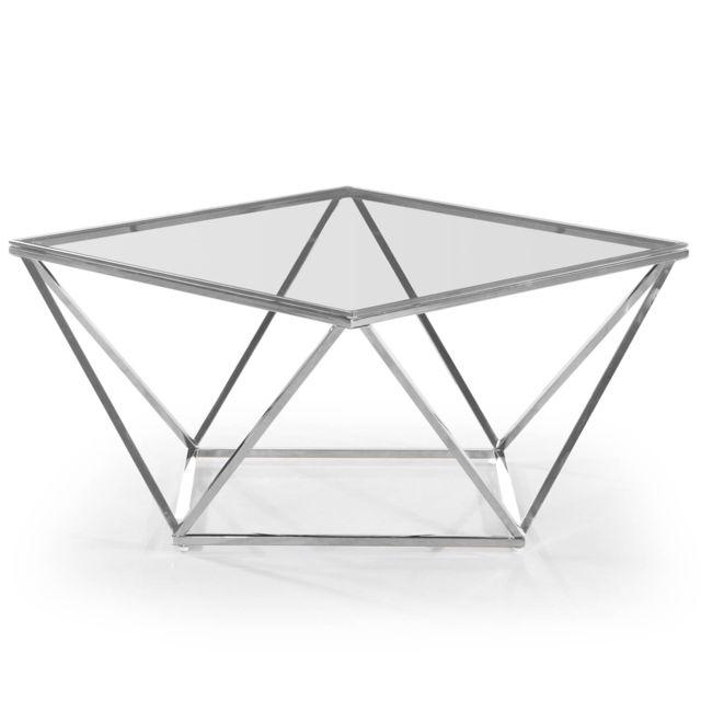 MENZZO Table basse Louane en Verre Transparent et pieds Argent