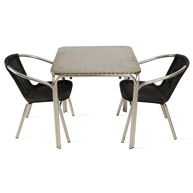 OVIALA - Table de jardin carrée et 2 fauteuils en aluminium - Noir ...