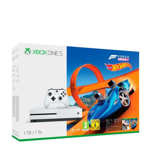MICROSOFT Console XBOX ONE S 1TO BLANCHE + FORZA HORIZON 3 + HOT WHEELS XBOX ONE