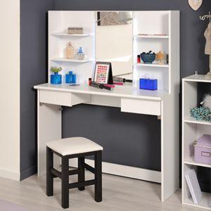 Coiffeuse avec tiroirs et miroir tabouret blanc pas - Coiffeuse avec miroir et tabouret pas cher ...