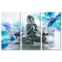 Tableau Triptyque Deco Zen Bouddha Et Fleurs Impression Sur Toile