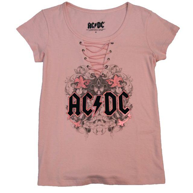 AC/DC Tshirt Femme Acdc Rose