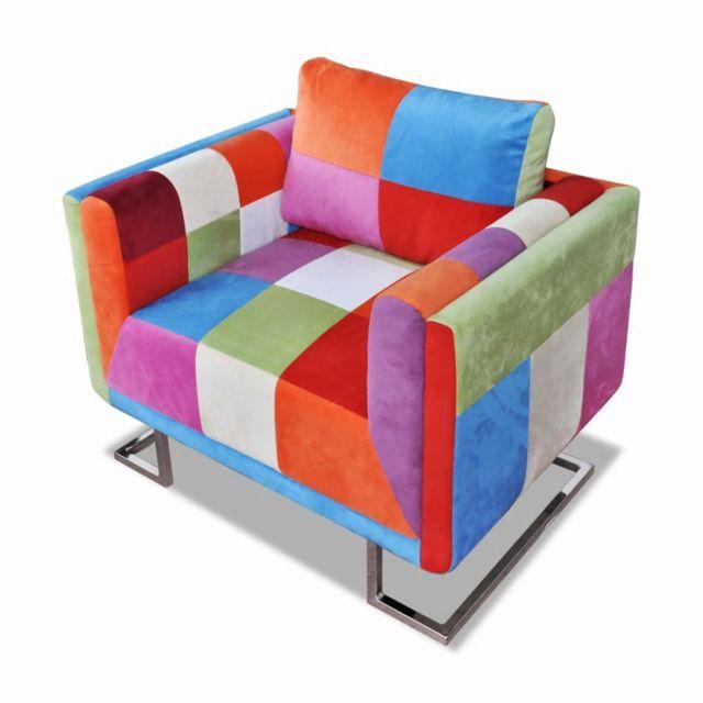 Vidaxl Fauteuil cube avec design de patchwork Chrome Tissu | Multicolore