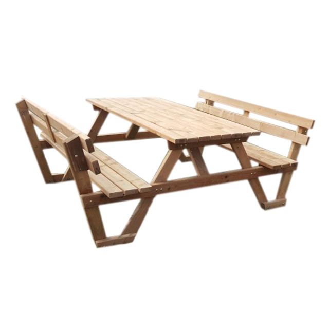 Homense - Table De Jardin En Bois Rectangulaire Avec Bancs ...
