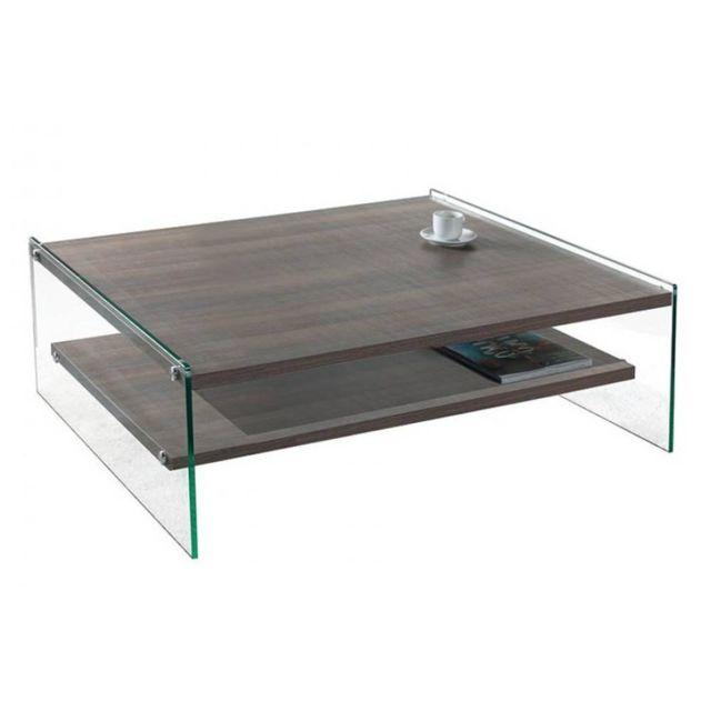 Inside 75 Table basse Bella 2 plateaux coloris noyer piétement en verre